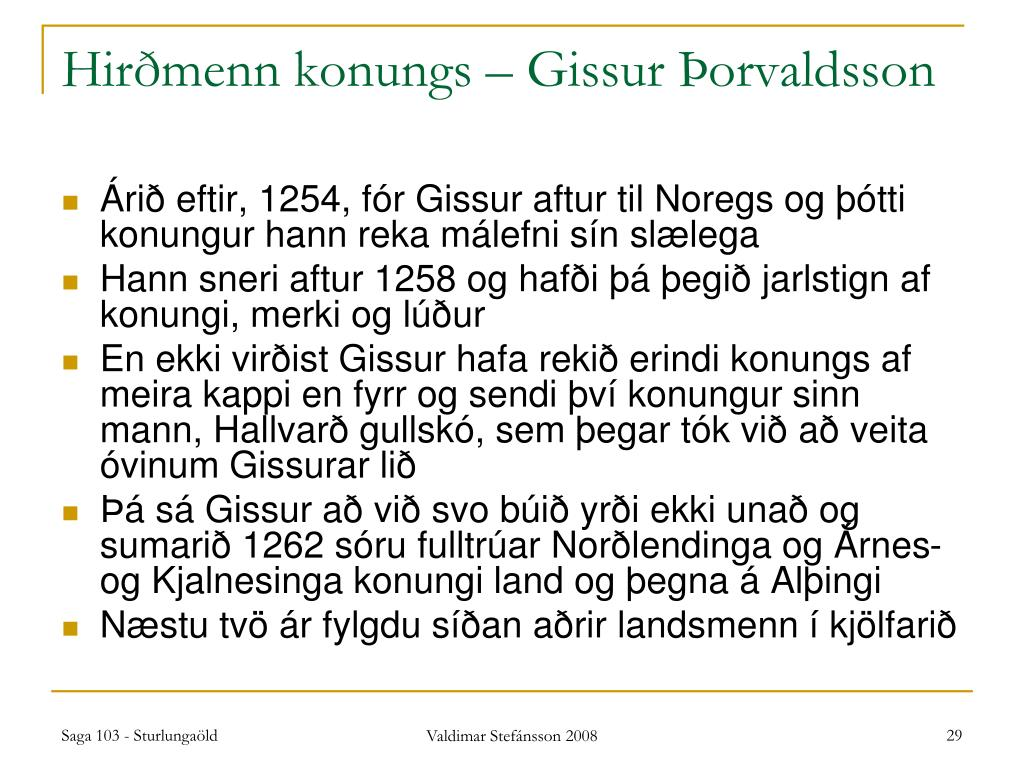 Hirðmenn konungs – Gissur Þorvaldsson