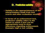 d predictive validity