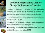 guide on adaptation to climate change in romania objective