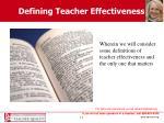 defining teacher effectiveness
