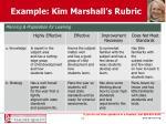 example kim marshall s rubric