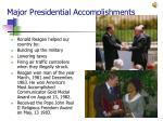 major presidential accomplishments