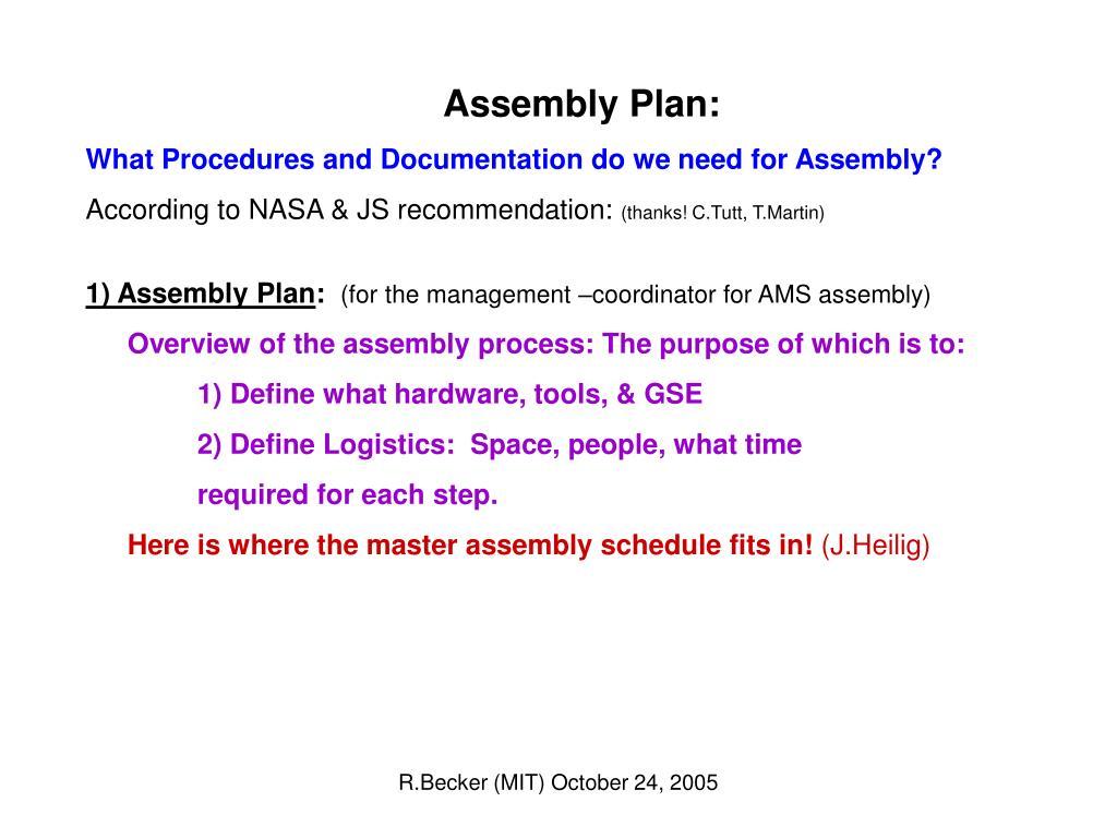 Assembly Plan:
