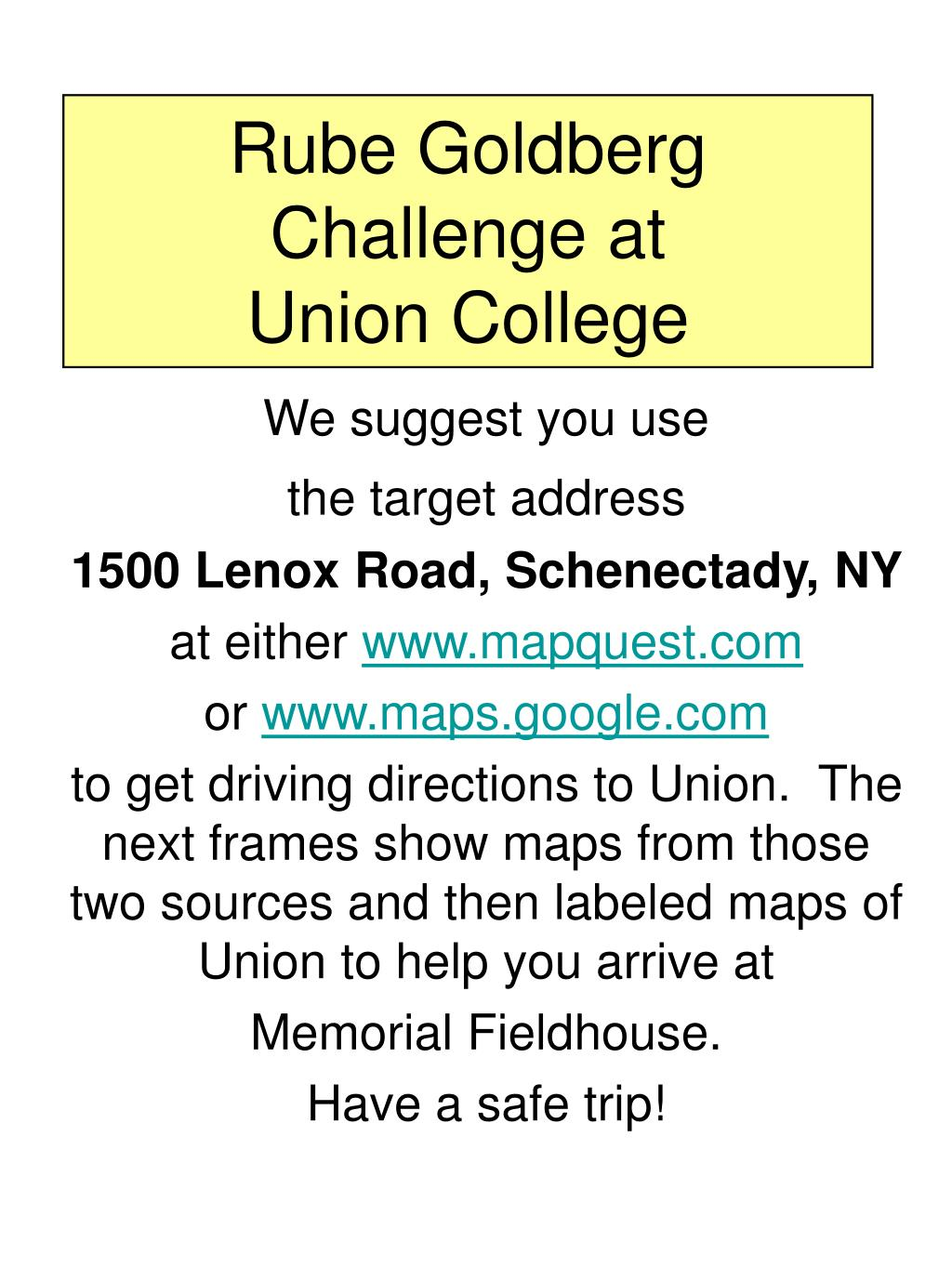 rube goldberg challenge at union college l.