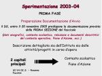 sperimentazione 2003 04