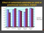 effect of carbonized substrates on yield of greenhouse cucumbers plant