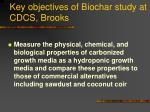 key objectives of biochar study at cdcs brooks20