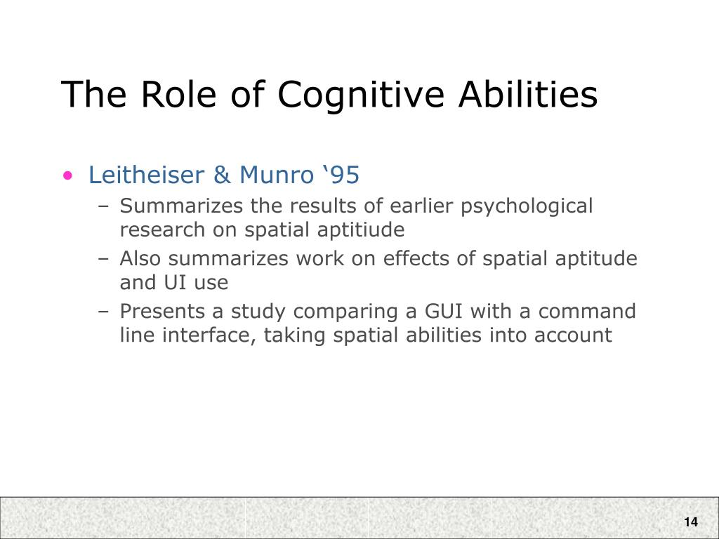 The Role of Cognitive Abilities