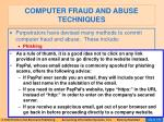 computer fraud and abuse techniques99