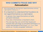 who commits fraud and why rationalization