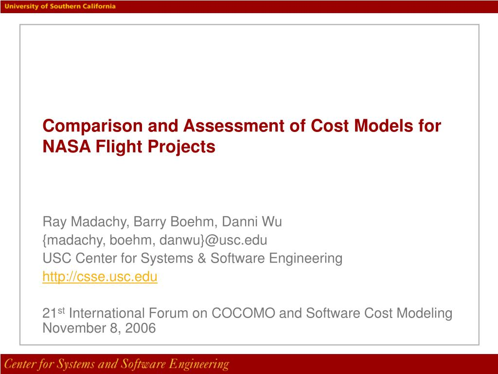 comparison and assessment of cost models for nasa flight projects l.