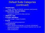 default suite categories continued