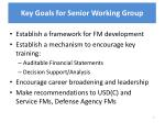 key goals for senior working group
