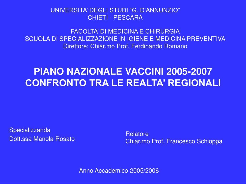 piano nazionale vaccini 2005 2007 confronto tra le realta regionali l.