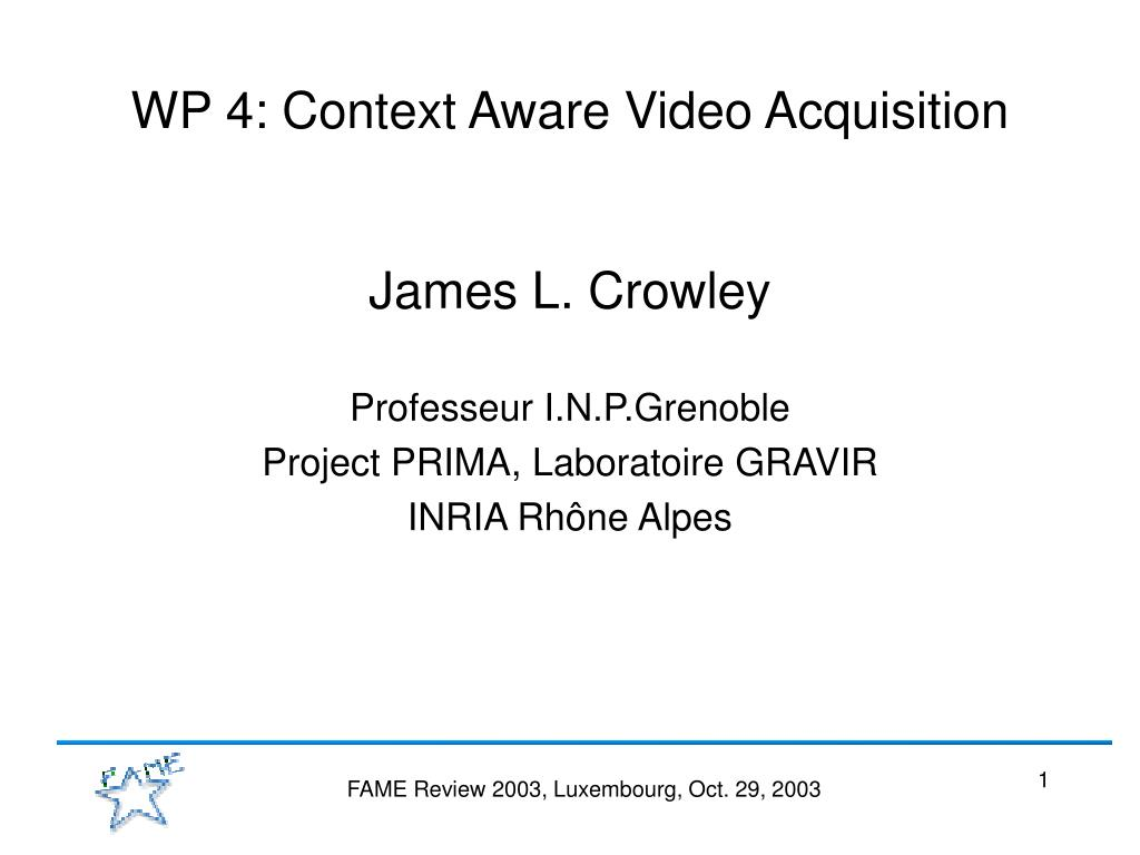 wp 4 context aware video acquisition l.