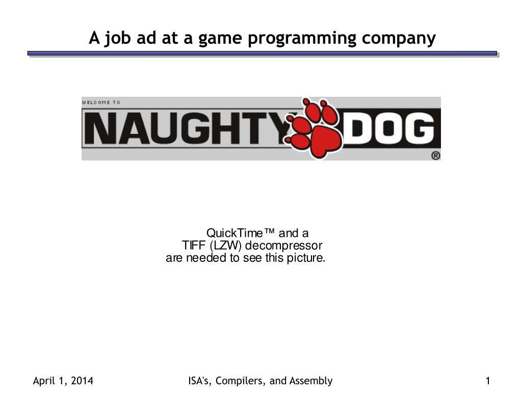 a job ad at a game programming company l.