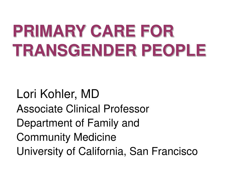 primary care for transgender people l.
