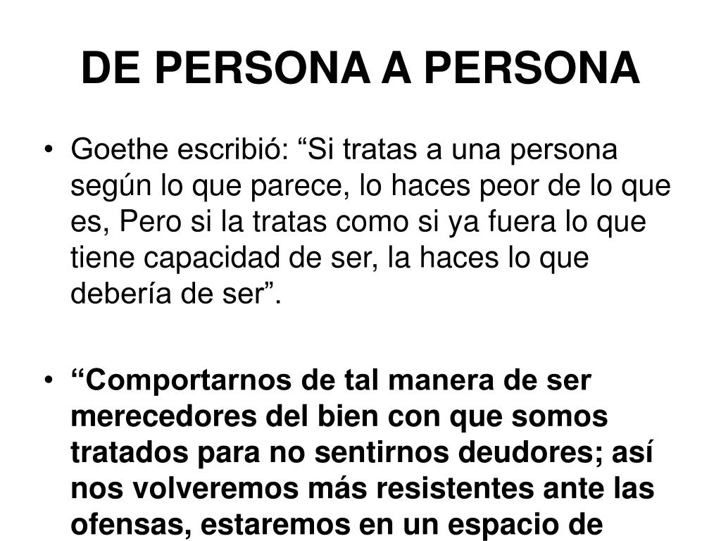 DE PERSONA A PERSONA