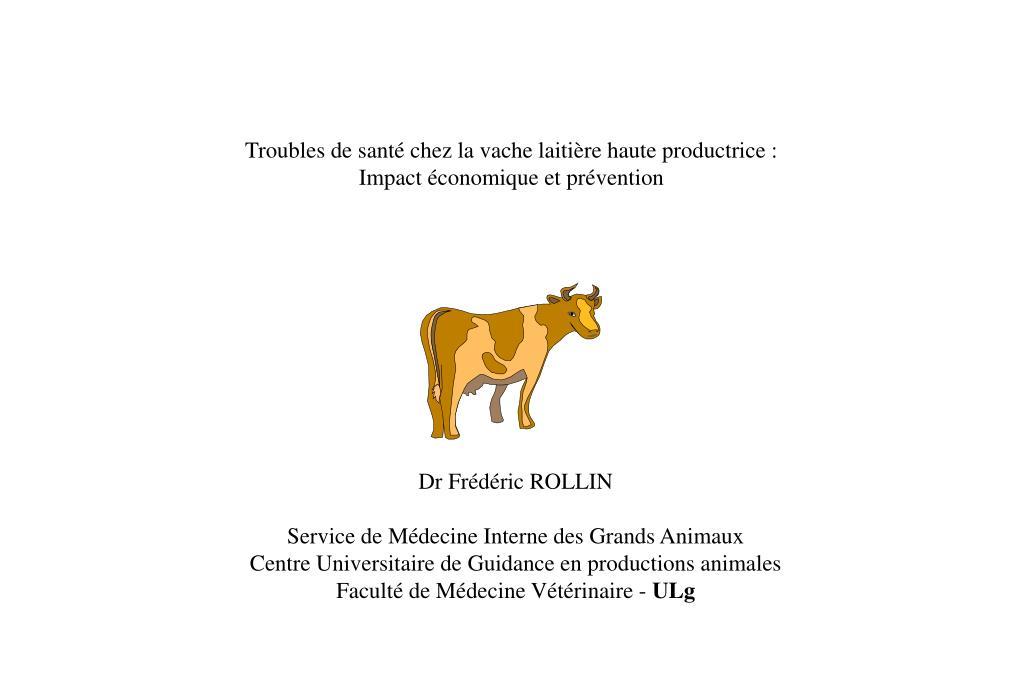 troubles de sant chez la vache laiti re haute productrice impact conomique et pr vention l.