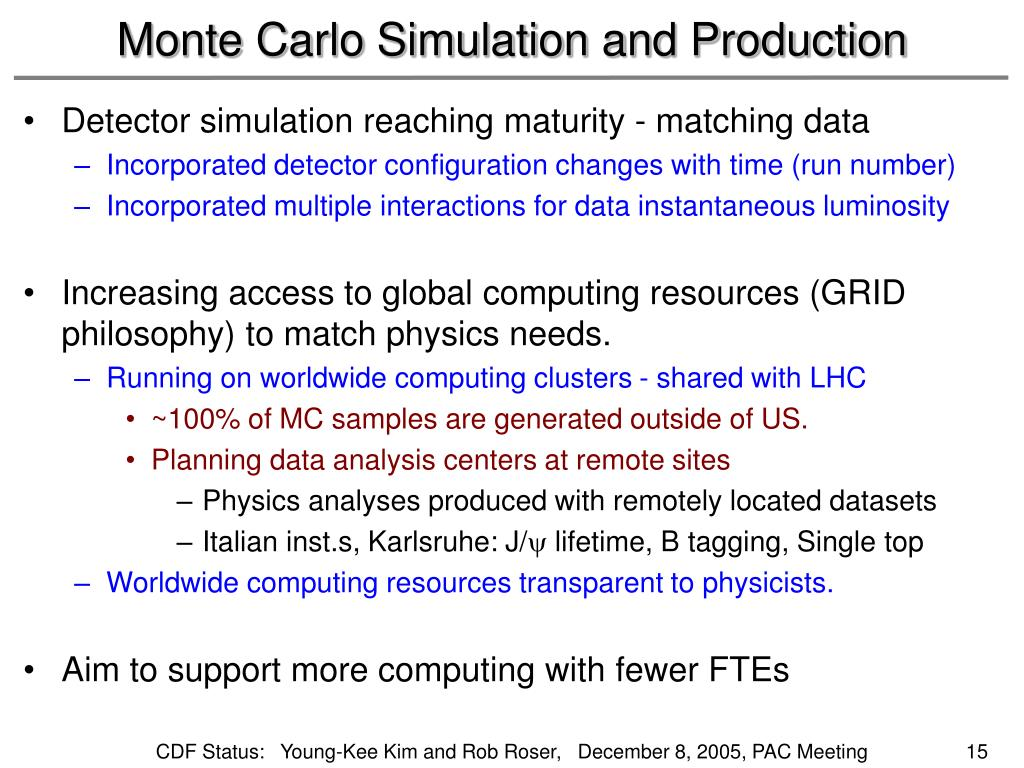 Monte Carlo Simulation and Production