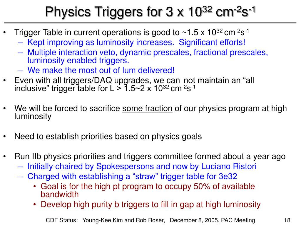 Physics Triggers for 3 x 10