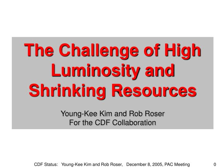 The Challenge of High Luminosity and Shrinking Resources