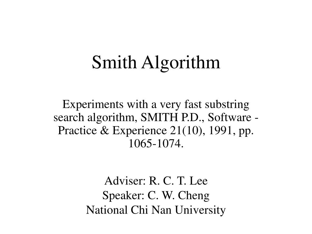 smith algorithm l.