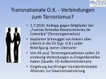 transnationale o k verbindungen zum terrorismus