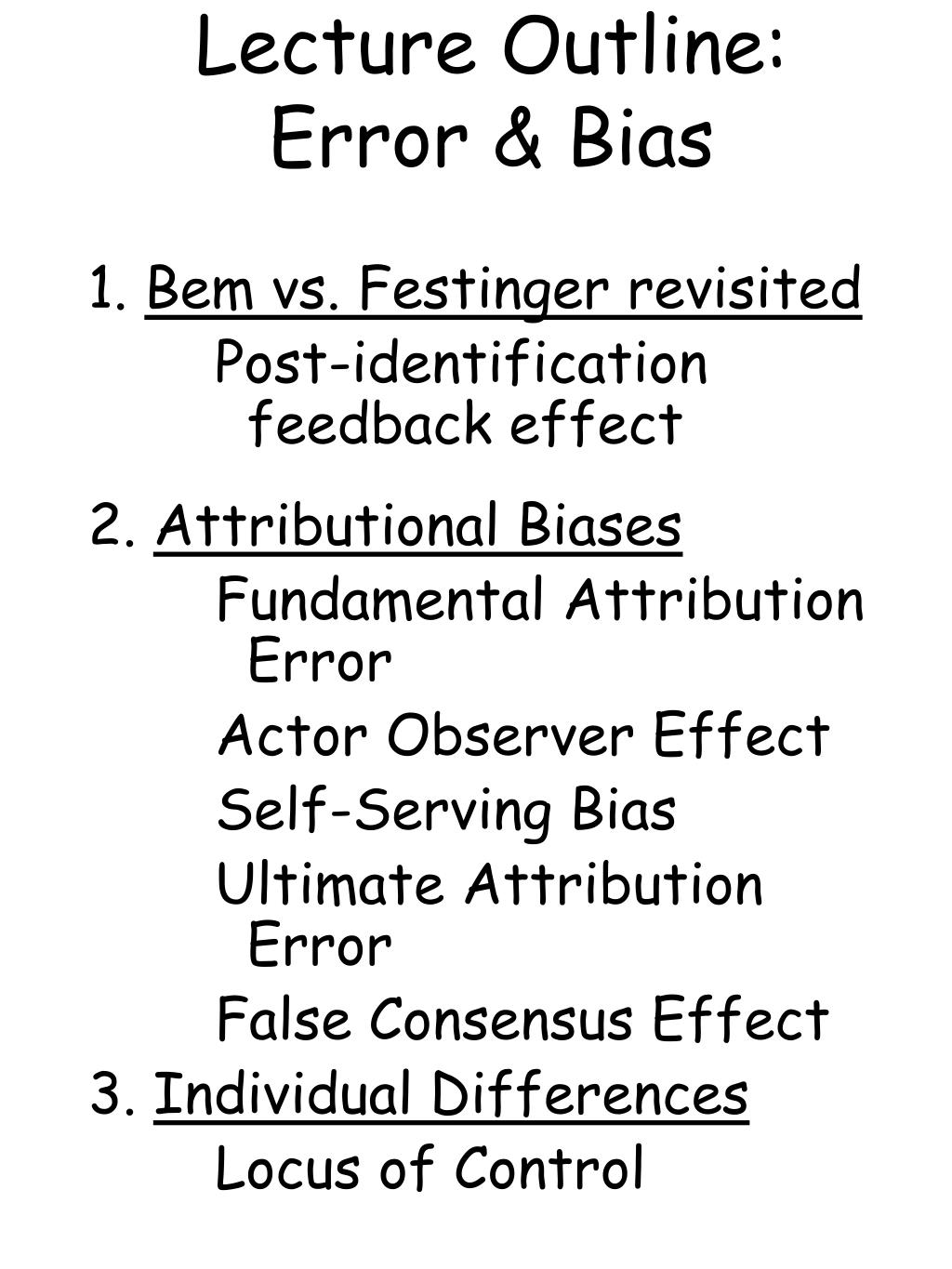 lecture outline error bias l.