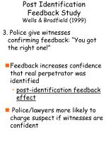 post identification feedback study wells bradfield 19996