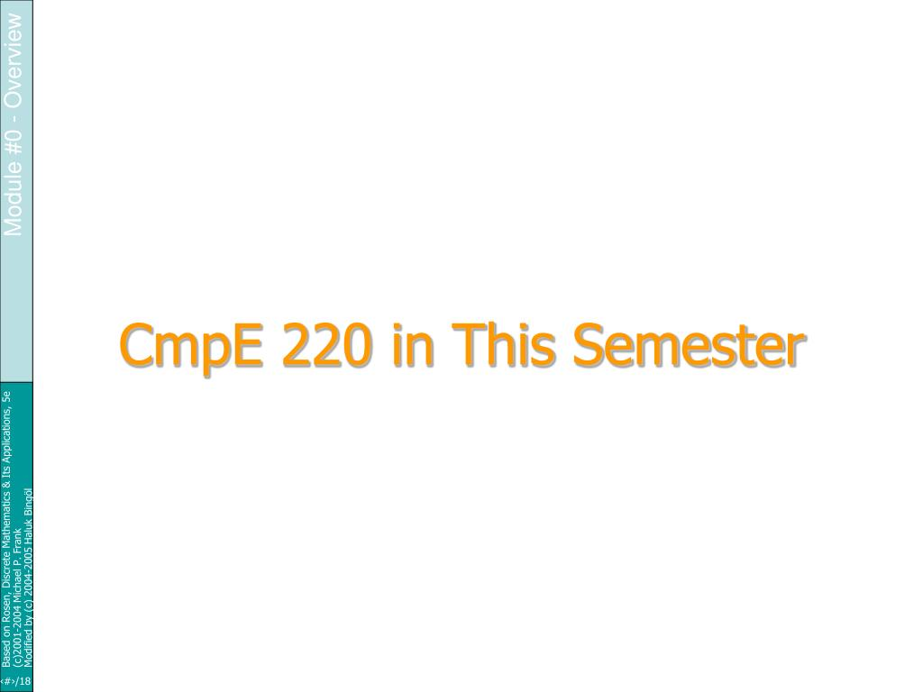 CmpE 220 in This Semester