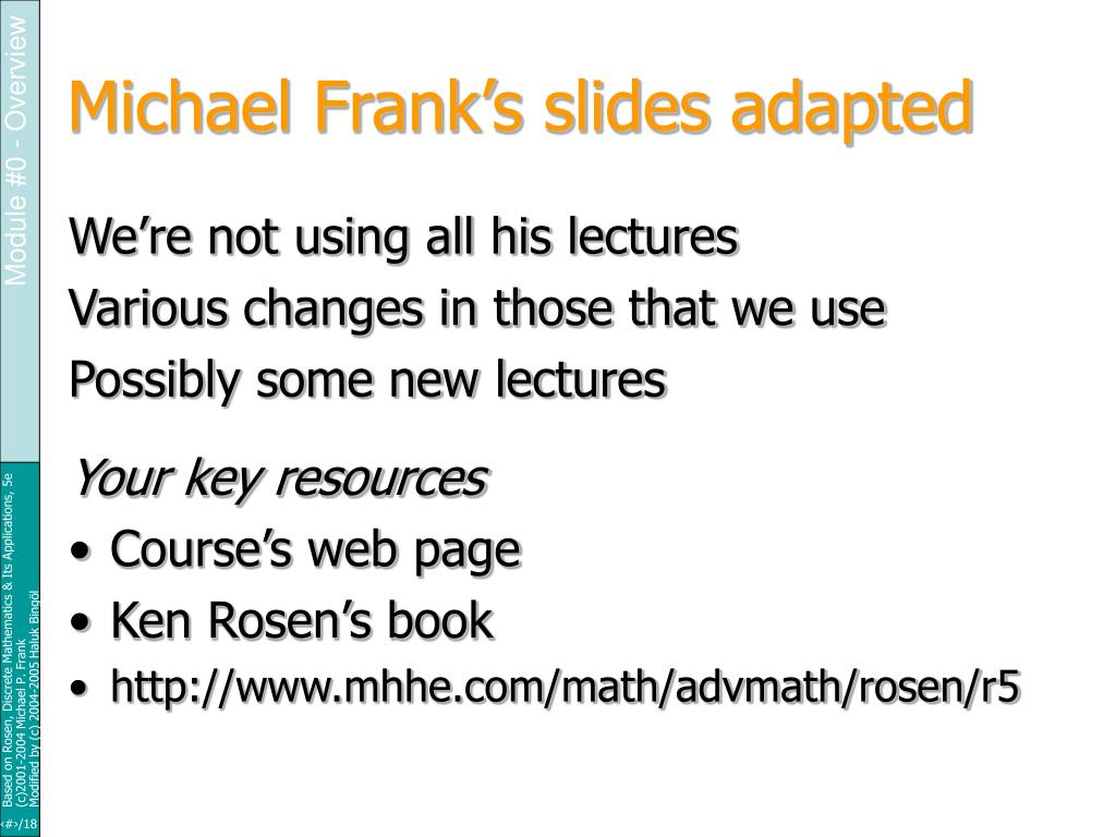 Michael Frank's slides adapted