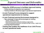 expected outcomes and deliverables
