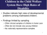 children in the child welfare system have high rates of disability