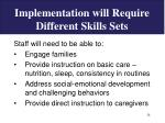 implementation will require different skills sets