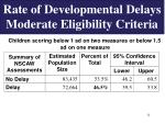 rate of developmental delays moderate eligibility criteria