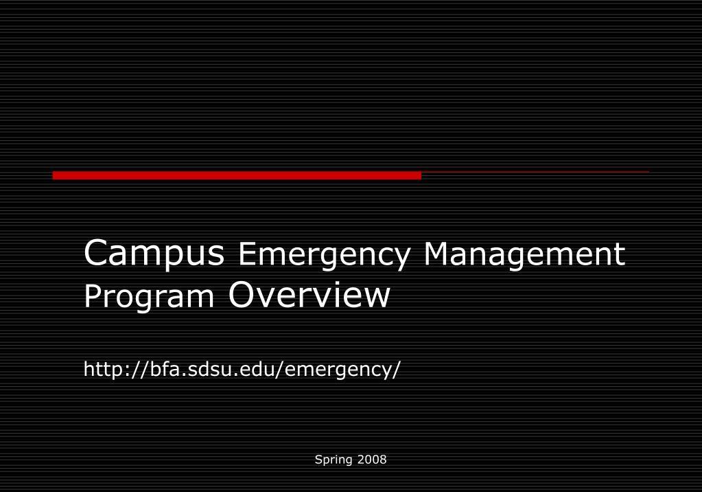 campus emergency management program overview http bfa sdsu edu emergency l.