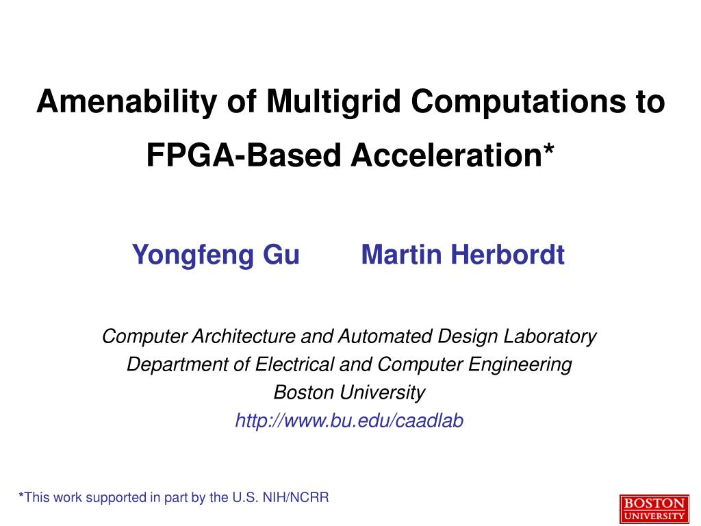 amenability of multigrid computations to fpga based acceleration l.