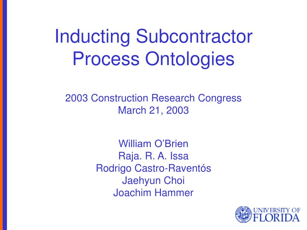 inducting subcontractor process ontologies l.