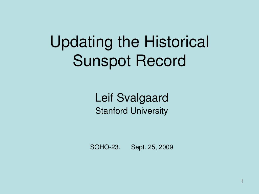 updating the historical sunspot record l.