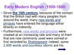 early modern english 1500 1800