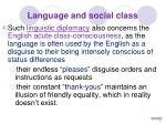 language and social class