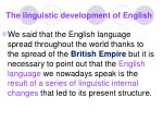 the linguistic development of english