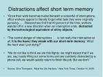 distractions affect short term memory
