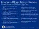 importer and broker reports examples available through the ace secure data portal