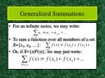 generalized summations