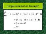 simple summation example