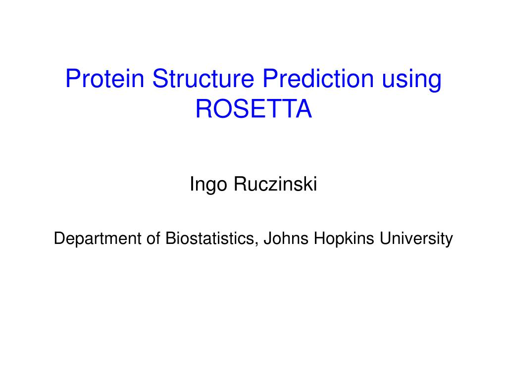 protein structure prediction using rosetta l.