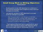 small group work on writing objectives instructions