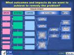 what outcomes and impacts do we want to achieve to remedy the problem